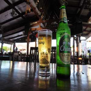 Crisp, refreshing Chang (Thai beer)