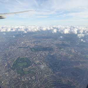 London from a plane