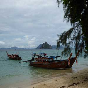 Longtail boats docked off Ko Ngai