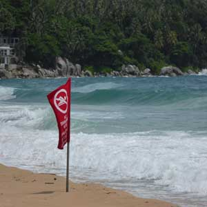 No swimming   rough sea   Karon Beach